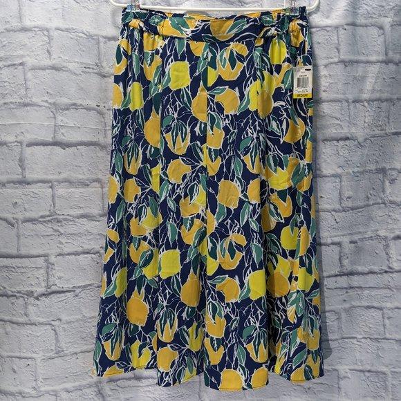 NWT Maison Jules lemon print midi skirt